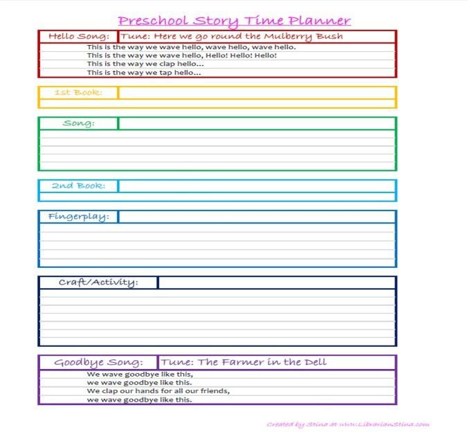Preschool Story Time Planner
