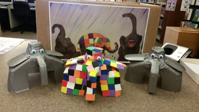Elmer the elephant milk jug story props